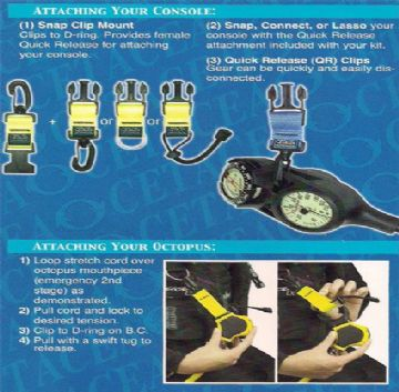 Cetacea - Reef Protection Kit - Quick Release Octopus Holder and Gauge Holder with Strong Cord